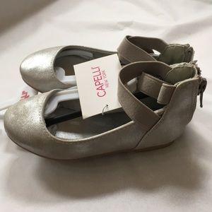 6 CAPELLI silver flats metallic ballet style NEW